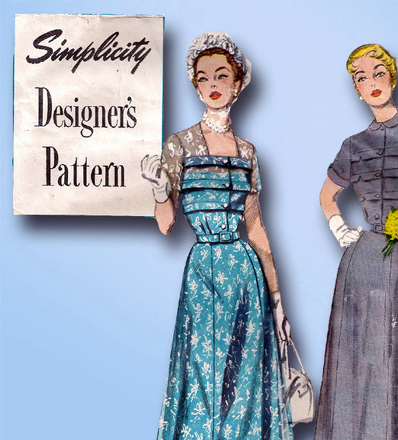 1940s Original Simplicity Designers Pattern 8261 Misses Tucked Dress Sz 34 Bust