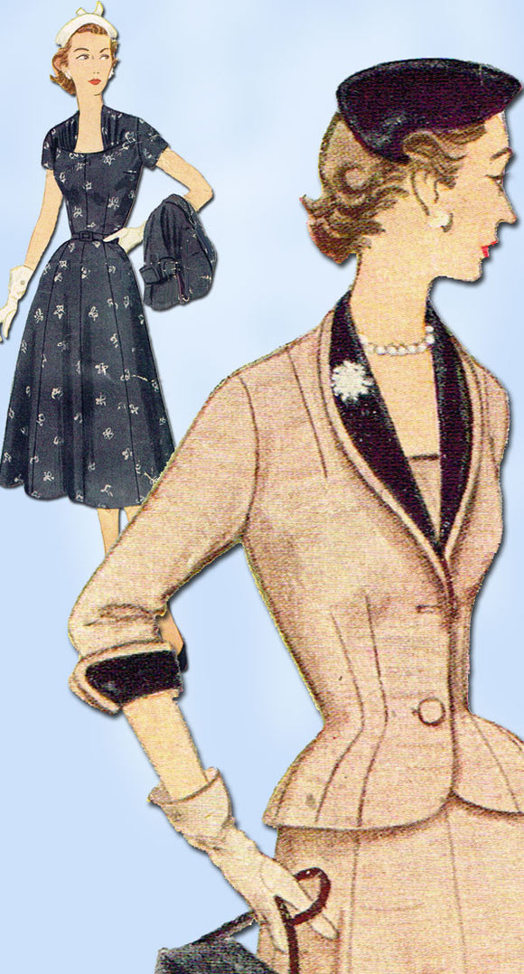 1950s Vintage SImplicity Sewing Pattern 8461 Misses Dress & Jacket Size 12 30B