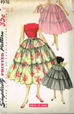 1950s Vintage Simplicity Sewing Pattern 4976 Uncut Misses Tiered Skirt Size 24 W