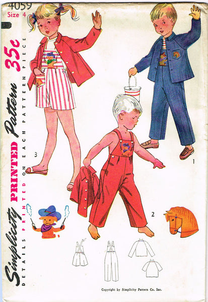 1950s Vintage Simplicity Sewing Pattern 4059 Toddlers Puppy Overalls Sz 6 Uncut