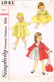 1950s Vintage Simplicity Sewing Pattern 1941 Baby Girls Dress and Coat Size 1