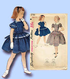 1950s Vintage Simplicity Sewing Pattern 3786 Uncut Girls Party Dress Size 8