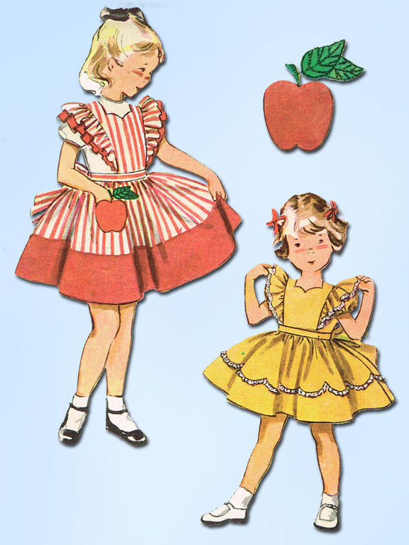 1950s Vintage Simplicity Sewing Pattern 4136 FF Toddler Girls Pinafore Dress Sz4