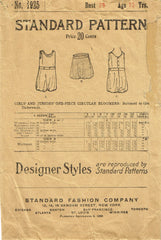 1920s Vintage Standard Sewing Pattern 1925 Little Girls Circular Bloomers Sz 12
