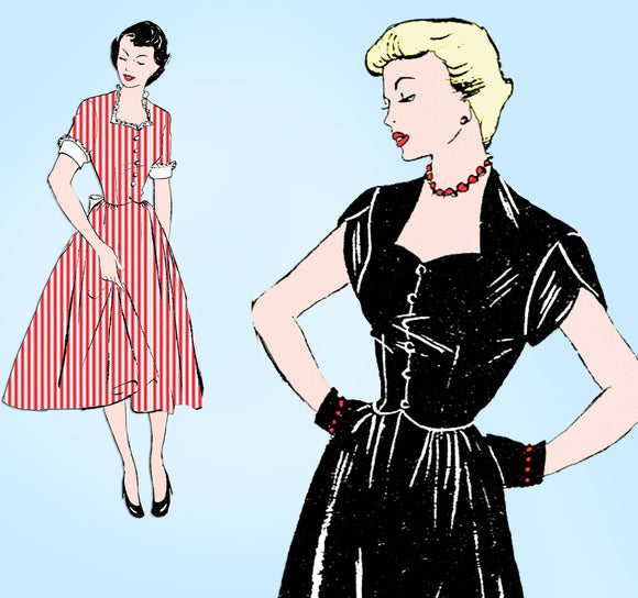 1940s Vintage Style Sewing Pattern 181 Uncut Misses Cocktail Dress Size 34 Bust