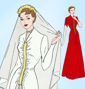 1940s Vintage Style Sewing Pattern 4683 Uncut WWII Parachute Wedding Dress 32 B - Vintage4me2