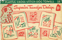 1930s Vintage Superior Embroidery Transfer 116 Uncut X-Stitch DOW Puppy Towels