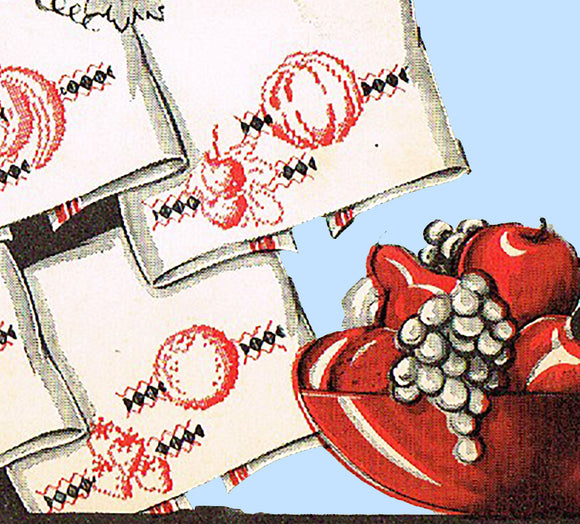 1930s Vintage Superior Embroidery Transfer 129 Uncut X-Stitch Fruit Tea Towels