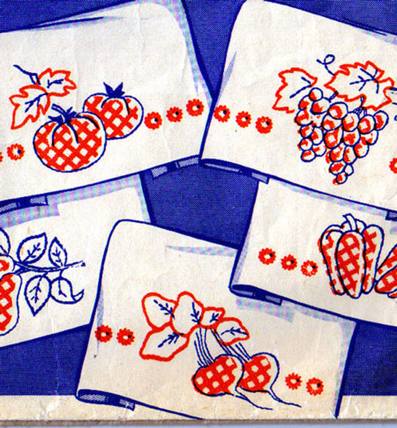 1940s Vintage Superior Embroidery Transfer 140 Uncut Gingham Fruit Tea Towels -Vintage4me2