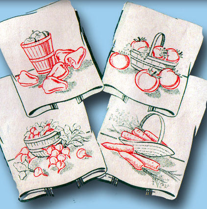 1940s Vintage Superior Embroidery Transfer 148 Uncut Veggie Tea Towel Motifs