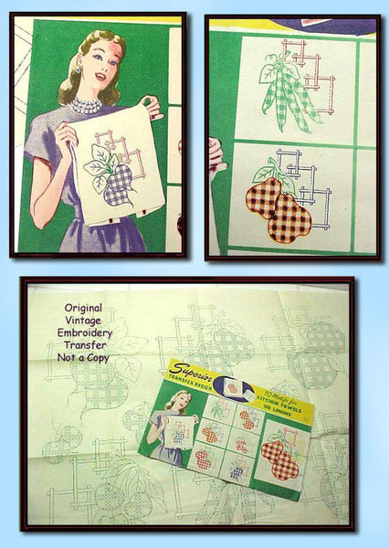 1940s Vintage Gingham Fruit Tea Towels Uncut Superior 167 Embroidery Transfer - Vintage4me2