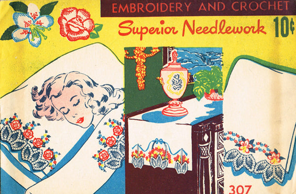 1940s Vintage Superior Embroidery Transfer 307 VTG Uncut Pillow Case Crochet