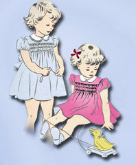 1940s Original Vintage Superior Pattern 6602 Uncut Toddler Girls Dress Size 4