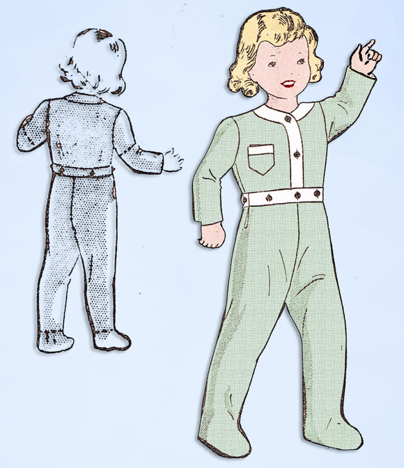 1940s Vintage Superior Sewing Pattern 9901 WWII Toddler Footie Pajamas Size 3