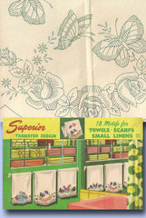 1940s Vintage Superior Embroidery Transfer 170 Uncut Butterfly Towel Ends Scarf