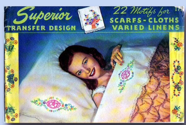 1940s Vintage Superior Embroidery Transfer 171 VTG Uncut Pillow Case Bells Flowers