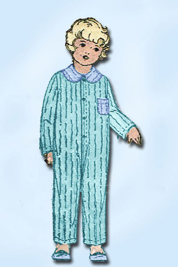 1920s Original Vintage Superior Pattern 5007 Toddler Boys One Piece Pajamas Sz 2 - Vintage4me2
