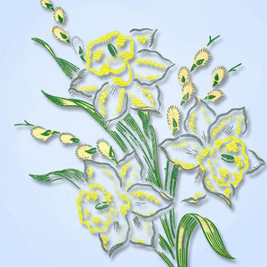 1950s Vintage Vogart Brand_Textilprint 17 Daffodil Color No Sew Hot Iron Transfer