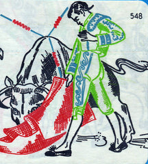 1950s Matador Motifs Vogart Textilprint 548 Color Hot Iron Transfer Uncut ORIG