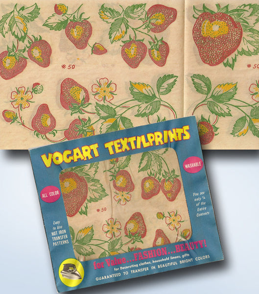 1950s Vintage Vogart Textilprint Color Hot Iron No Sew Transfer 50 Strawberries
