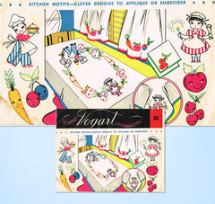 1940s Vintage Vogart Embroidery Transfer 103 Uncut Comic Cute Chef & Maid Motifs