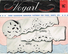 1940s Cutwork His & Hers Pillowcase Transfer Uncut Vogart Heirloom Embroidery - Vintage4me2