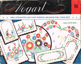 1940s Vintage Vogart Embroidery Transfer 118 Uncut Lazy Daisy Floral Vanity Set