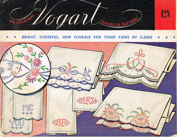 1950s Floral His & Hers Pillowcase Embroidery Uncut Vogart 128 Hot Iron Transfer
