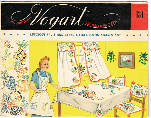 1950s Vintage Vogart Embroidery Transfer 134 Uncut Fruit Basket Kitchen Motifs