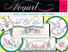 1950s Swan Kitty Pansies Pillowcase Embroidery Transfer Uncut Vogart 242 Vintage