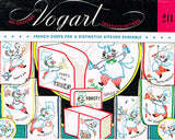 1950s VTG Vogart Embroidery Transfer 244 Uncut French Chef DOW Tea Towels ORIGINAL