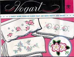 1950s Original Vintage Vogart Embroidery Transfer 292 Uncut Floral Pillowcases