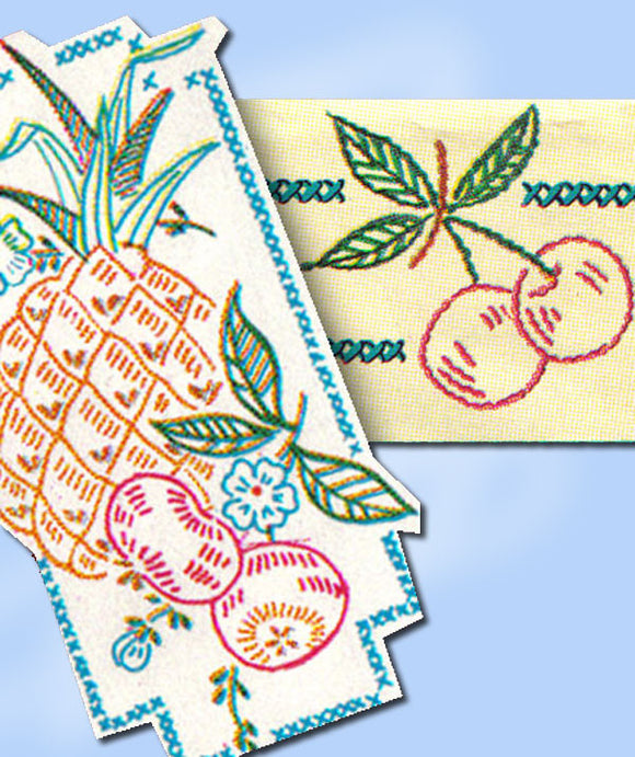 1950s Original Vintage Vogart Embroidery Transfer 611 Uncut Fruit Tea Towels -Vintage4me2