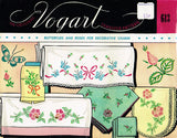 1950s Vintage Vogart Embroidery Transfer 613 Roses & Butterfly Pillowcases Uncut