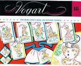 1950s Vintage Vogart Embroidery Transfer 645 Little Bear Chef Tea Towel Set Factory Folded