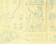 1940s Vintage Vogart Embroidery Transfer 681 Americana Designs Tea Towels Uncut