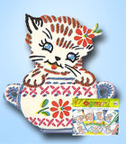 1960s Vintage Vogart Embroidery Transfer 694 Uncut Kitten & Dishes Tea Towels - Vintage4me2