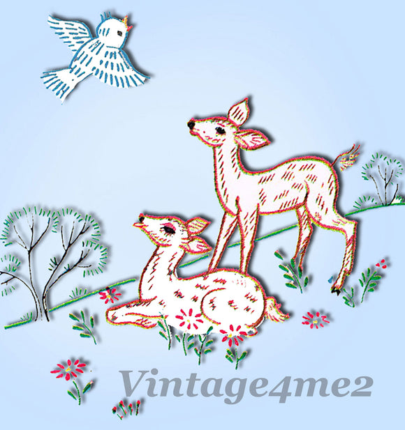 1960s VTG Vogart Embroidery Transfer 711 Uncut Deer and Flowers Vanity Scarf