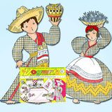 1960s Vintage Vogart 717 Embroidery Transfer Mexican Couple Kitchen Towels FF -Vintage4me2