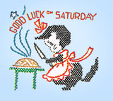 1950s Vintage Vogart Embroidery Transfer 178 Uncut Good Luck Kitten Tea Towels