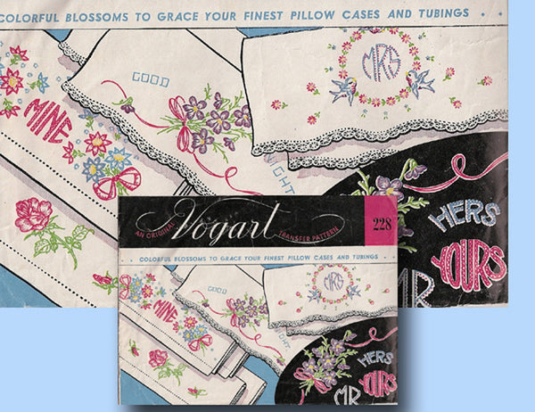 1950s Vintage Vogart Embroidery Transfer 228 Uncut His & Hers Pillowcases ORIGINAL