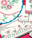 1950s Vintage Vogart Embroidery Transfer 275 Uncut Small Floral Pillowcase Motif