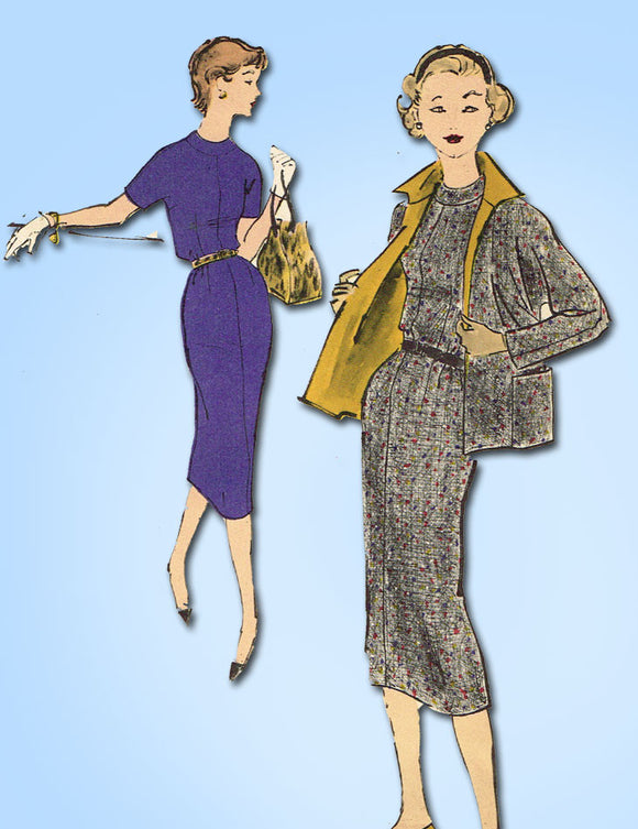 1950s Vintage Vogue Sewing Pattern 1558 Teen Girls Sheath Dress & Jacket Size 10