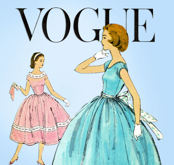 1950s Vintage Vogue Sewing Pattern 1568 Uncut Easy Girls Party Dress Sz 10 30B - Vintage4me2