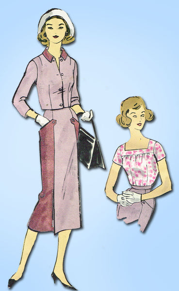 1950s Vintage Vogue Sewing Pattern 1584 Teen Girls 3 Piece Suit Size 10 30B