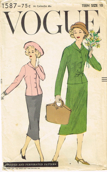 1950s Vintage Vogue Sewing Pattern 1587 Teen Misses Sheath Dress Size 10 30B