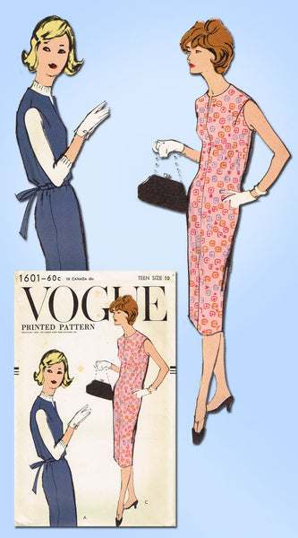 1950s Vintage Vogue Sewing Pattern 1601 Teen Misses Slender Dress Size 10 30B