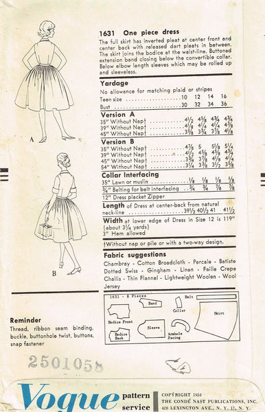 1950s Vintage Vogue Sewing Pattern 1631 Teen Girls Shirtwaist Dress Size 10 30B