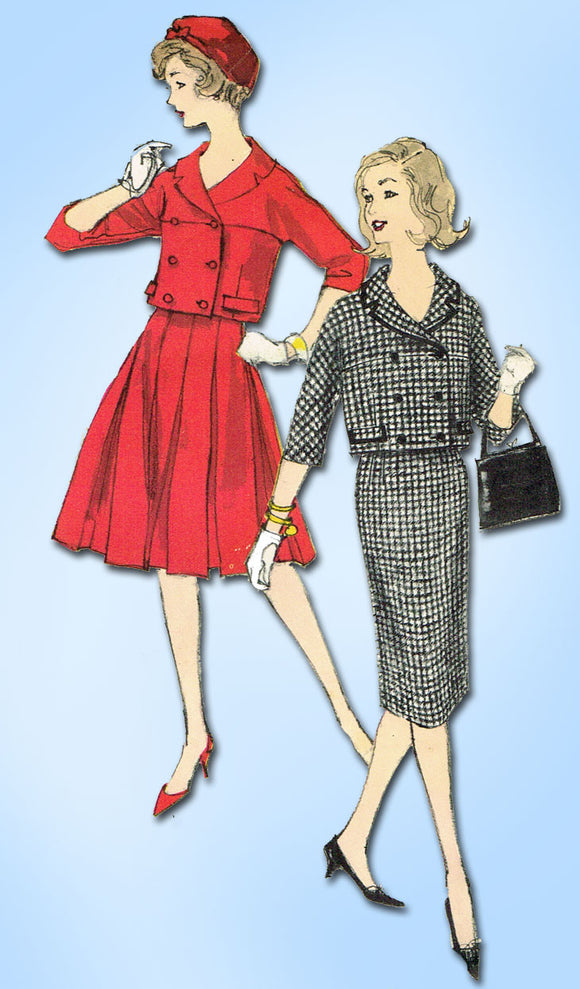 1950s Vintage Teen Girls or Misses Suit Vogue Sewing Pattern 1637 Size 10 30B