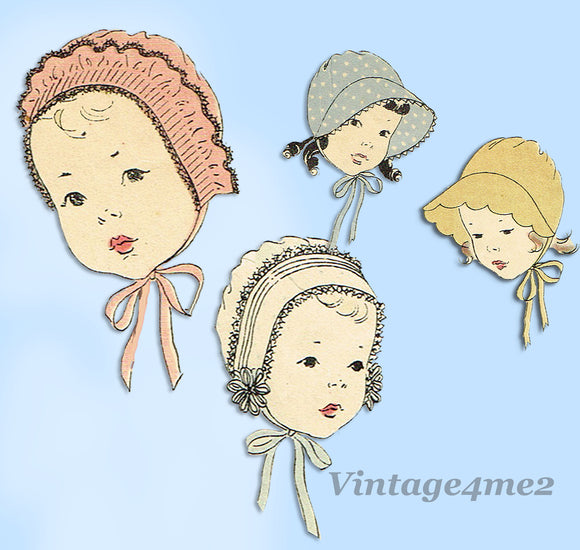 Vogue 2184: 1930s Set of Toddler Bonnets Sz 15 Inch Head Vintage Sewing Pattern - Vintage4me2